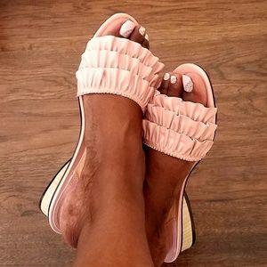 Mackin J Shoes - New! Pink Ruffle Slide Wood Grain Low Heel Sandal